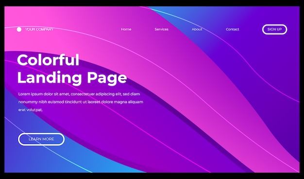 Colorful abstract geometric background gradient fluid for landing page
