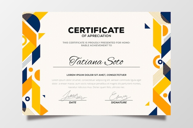 Colorful abstract geometric certificate template