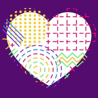 다채로운 추상적 인 기하학적 플럭스 요소와 심장