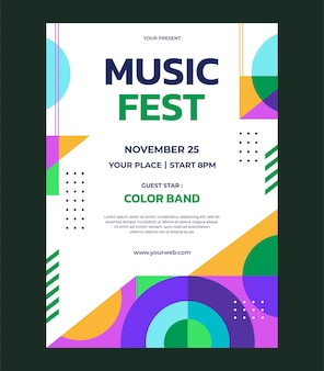 Colorful abstract geometric music poster vector template