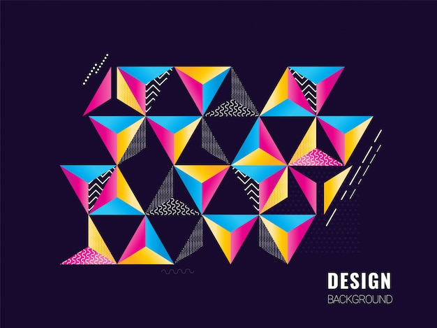 Colorful abstract geometric shape triangle in different patterns design.