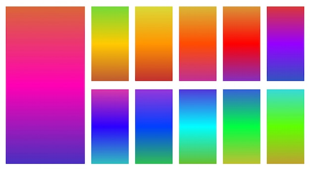 Colorful  of abstract gradients set over white