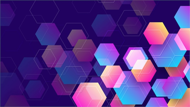 Colorful abstract hexagon background.