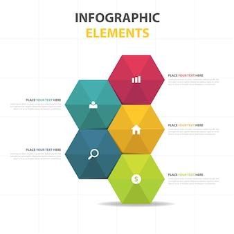 다채로운 추상적 인 육각 비즈니스 infographic 서식 파일