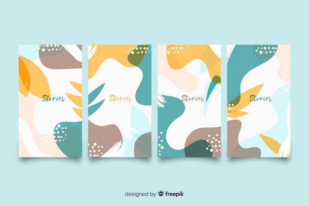 Colorful abstract instagram stories painted template