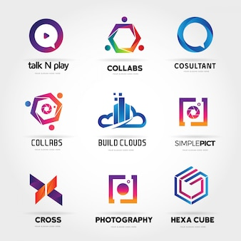 Colorful abstract internet logo collection