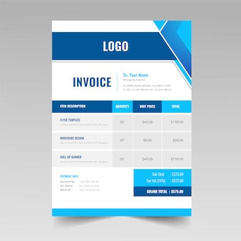 Colorful abstract invoice design template