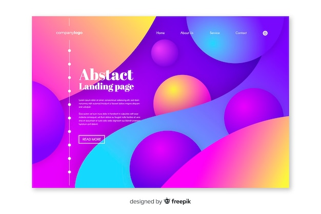 Colorful abstract landing page