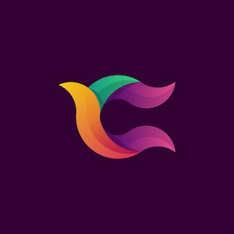 Colorful abstract letter c logo premium