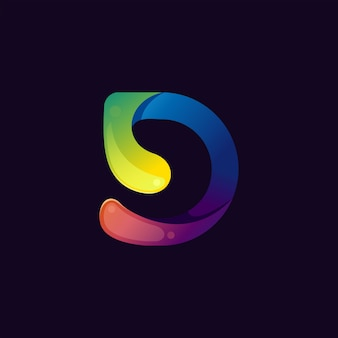 Colorful abstract letter d logo premium