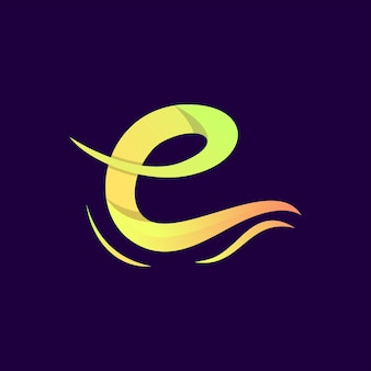 Colorful abstract letter e logo premium