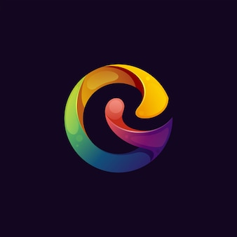 Colorful abstract letter g logo premium