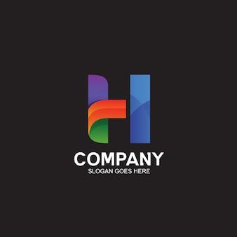 Colorful abstract letter h logo design