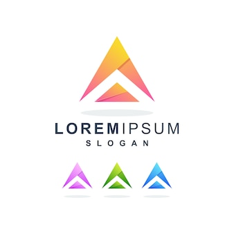 Colorful abstract letter a logo premium