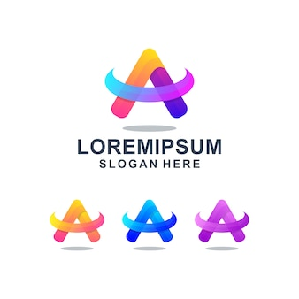 Colorful abstract letter a logo template