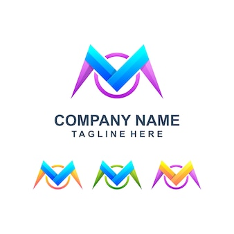 Colorful abstract letter m logo