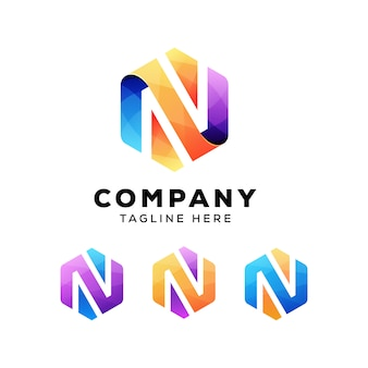Colorful abstract letter n hexagon  logo or logotype