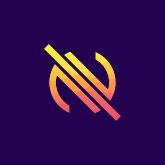 Colorful abstract letter n logo premium