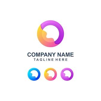 カラフルな抽象文字oロゴ