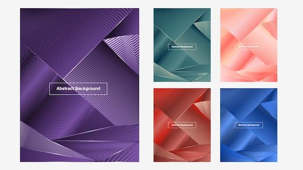 Colorful abstract lines background set