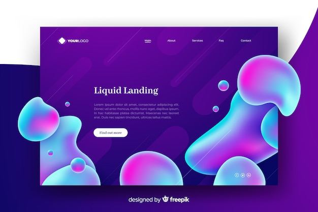 Colorful abstract liquid landing page