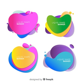 Colorful abstract liquid shape banner set