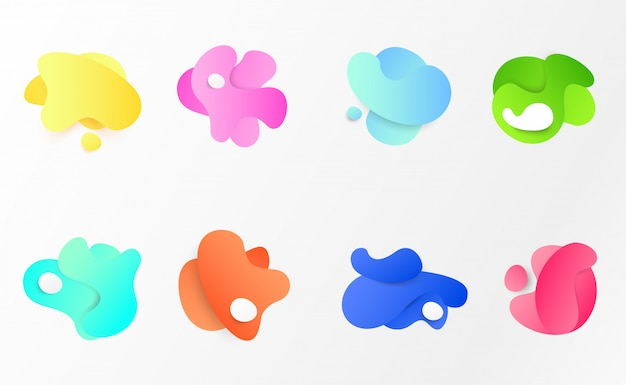 Colorful abstract liquid shapes set