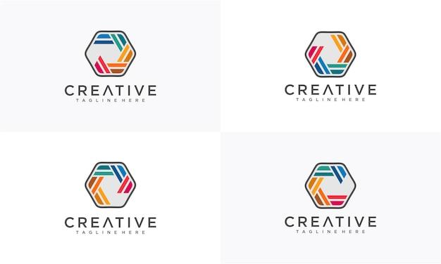 六角形のカラフルな抽象的なロゴデザイン