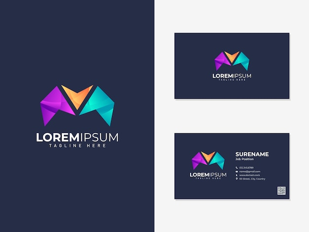 Colorful abstract logo with business card template