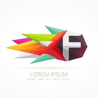 文字fとカラフルな抽象的なロゴ