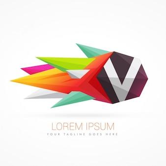편지 v와 다채로운 추상적 인 로고