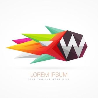 편지 w와 다채로운 추상적 인 로고