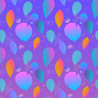 Colorful abstract modern leaves seamless pattern