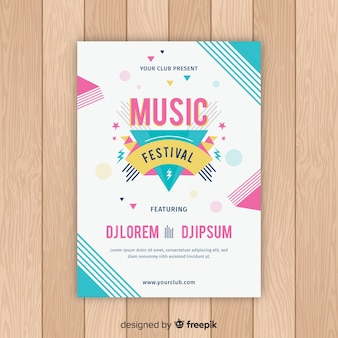 Colorful abstract music festival poster template