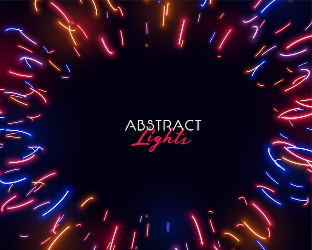 Colorful abstract neon lights in irregular shapes