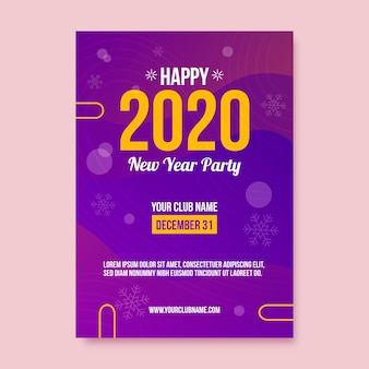 Colorful abstract new year 2020 party flyer template