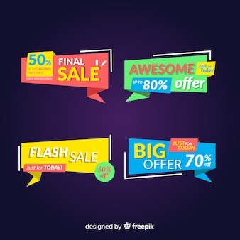 Colorful abstract origami sale banner set