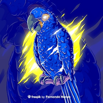 colorful abstract parrot illustrated
