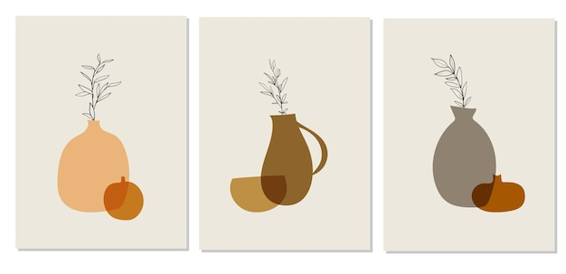 Colorful abstract posters with pots in modern style on white background