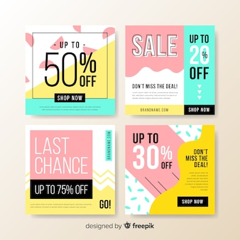 Colorful abstract sale instagram post collection banners