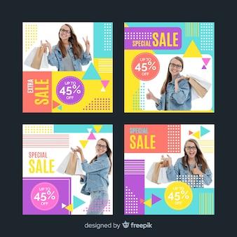 Красочные абстрактные продажи instagram пост коллекция для девочек