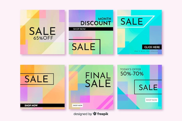 Colorful abstract sale instagram post pack