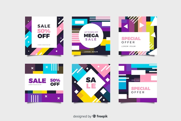 Colorful abstract sale instagram post set