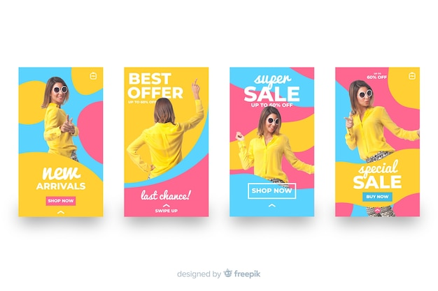 Colorful abstract sale instagram stories set