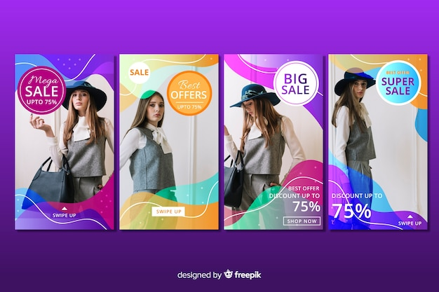 Colorful abstract sale instagram stories with image
