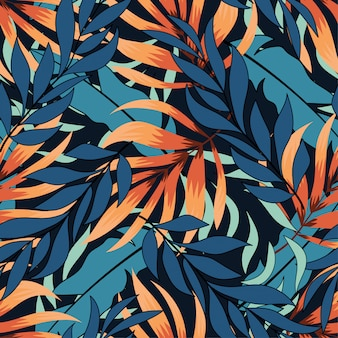 Colorful abstract seamless pattern with hawaiian plants and leaves