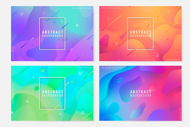 Colorful abstract seamless patterned background set