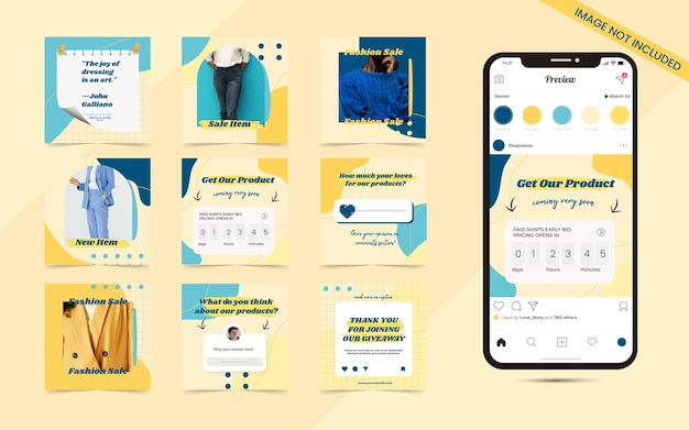 Colorful abstract seamless social media carousel post banner for instagram fashion sale promotion templates