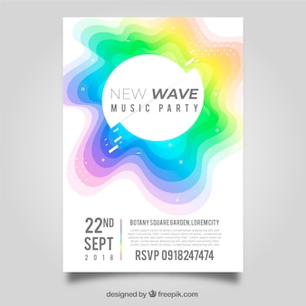 Colorful abstract shape party poster