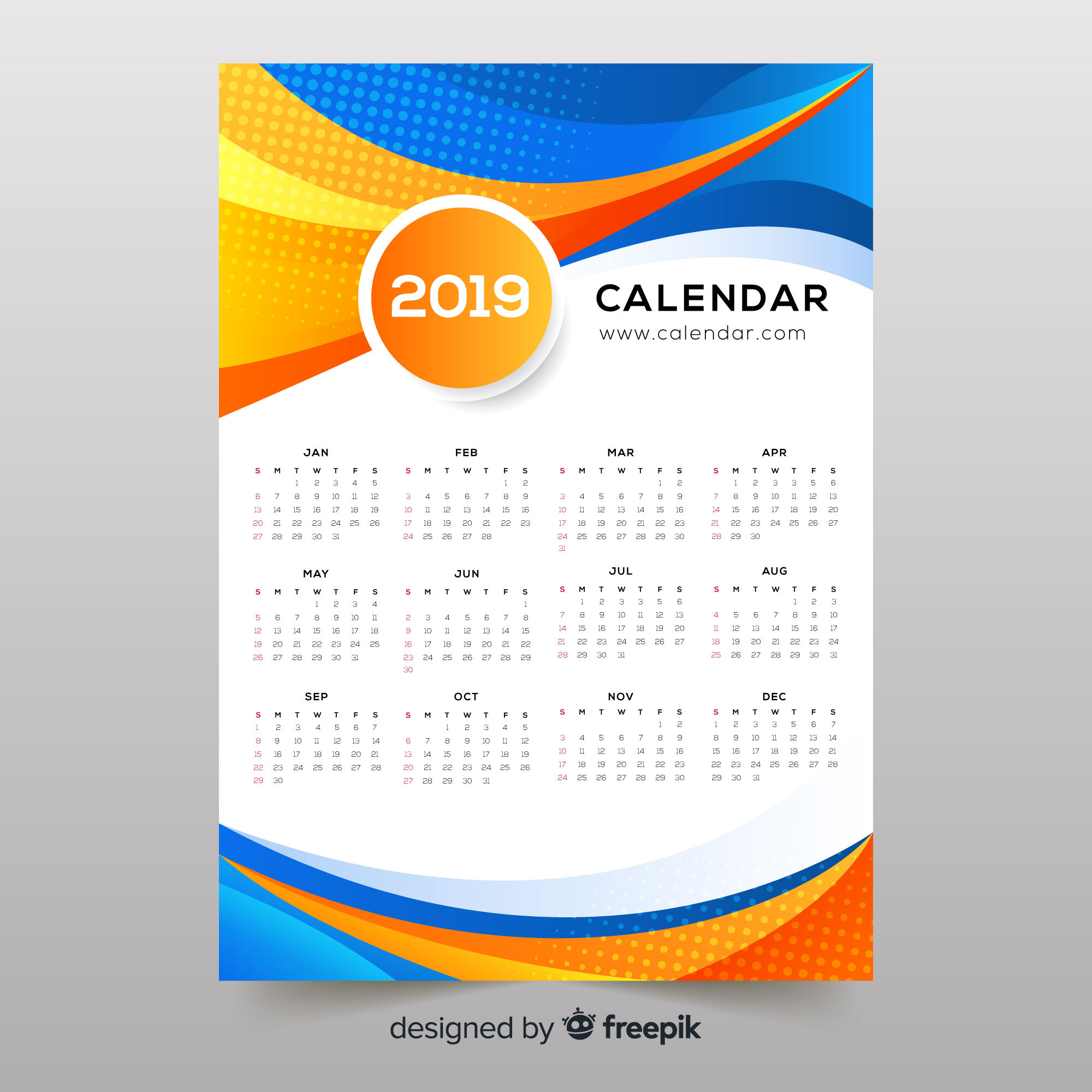 Colorful abstract shapes 2019 calendar